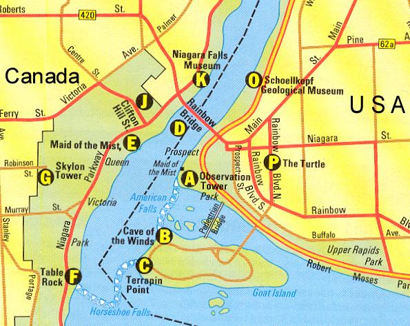Niagara Falls Map Mapa Plan Plano Karte Carte Usa Canada