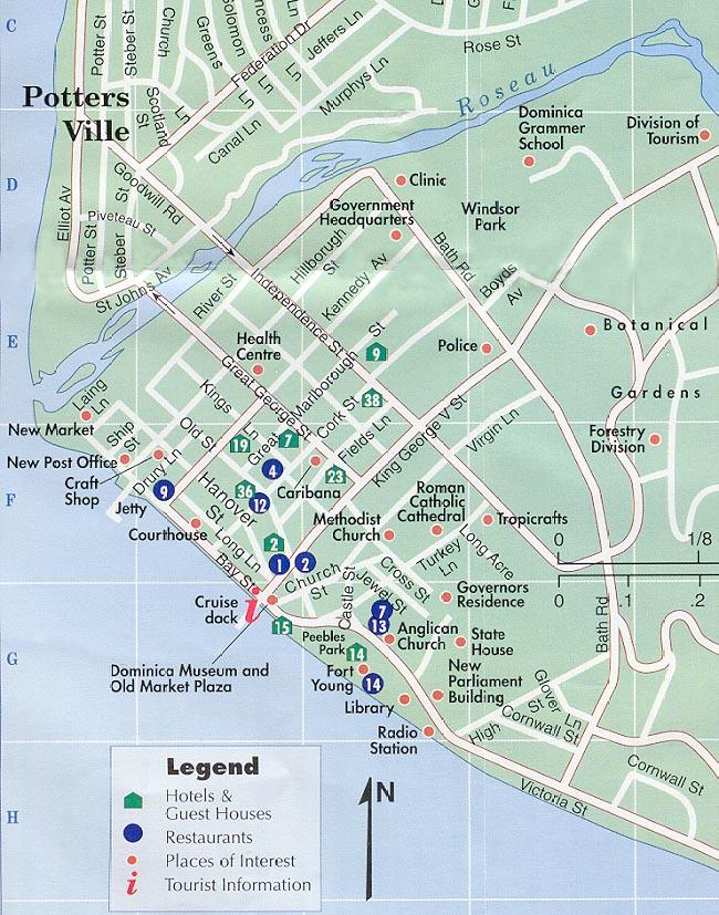 Roseau Dominica Map